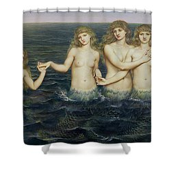 The Sea Maidens Shower Curtain by Evelyn De Morgan