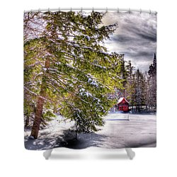 Shower Curtain featuring the photograph The Secluded Boathouse by David Patterson