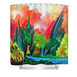 The Secret Stream Shower Curtain by Elizabeth Fontaine-Barr