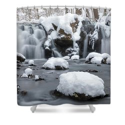 The Secret Waterfall In Winter 1 Shower Curtain