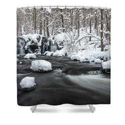The Secret Waterfall In Winter 2 Shower Curtain