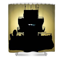 The Setting Sun Silhouettes An Air Shower Curtain by Stocktrek Images