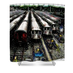 The Seven Train Yard Queens Ny Shower Curtain by Iowan Stone-Flowers