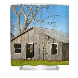 Shower Curtain featuring the painting The Shack by Norm Starks