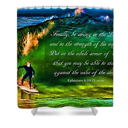 Shower Curtain featuring the photograph The Shadow Within With Bible Verse by John A Rodriguez
