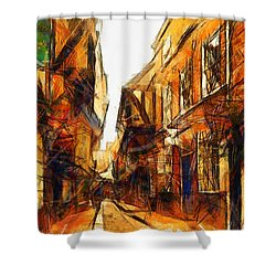 Shower Curtain featuring the painting The Shambles In York  by Sir Josef - Social Critic - ART