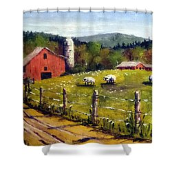 The Sheep Farm Shower Curtain by Jim Phillips
