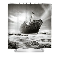The Shipwreck Shower Curtain by Marius Sipa