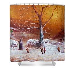 The Shire First Snowfall Shower Curtain by Joe Gilronan