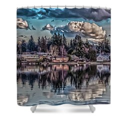 The Shore Shower Curtain by Timothy Latta
