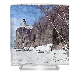 The Shoreline Lighthouse Shower Curtain