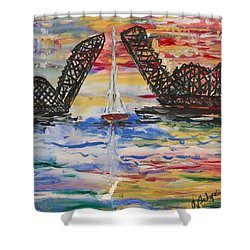 Shower Curtain featuring the painting The Signature Bridge by Andrew J Andropolis