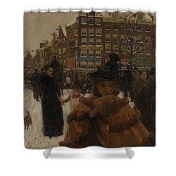 The Singel Bridge At The Paleisstraat In Amsterdam, 1896 Shower Curtain