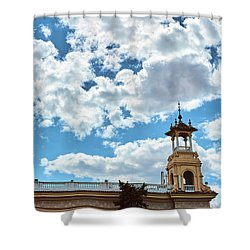 Shower Curtain featuring the photograph The Sky Above The Towers Of Montjuic by Eduardo Jose Accorinti