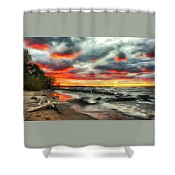The Sky On Fire At Sunset On Lake Erie Shower Curtain