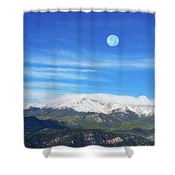 The Skyscraper That Towers Over My Hometown Reaches The Clouds At 14115 Feet Above Sea Level.  Shower Curtain