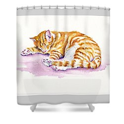 The Sleepy Kitten Shower Curtain