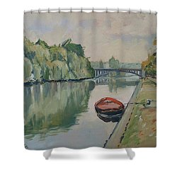The Small Boat Along The Quai Of Halage Vise Shower Curtain