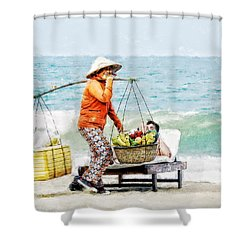 Shower Curtain featuring the digital art The Smiling Vendor by Cameron Wood