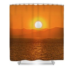 The Smoke From A Forest Fire Gave Us This Tangerine Sky Over 11-mile Reservoir State Park, Colorado. Shower Curtain