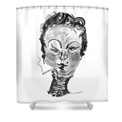 Shower Curtain featuring the mixed media The Smoker - Black And White by Marian Voicu
