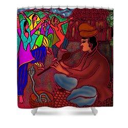 Shower Curtain featuring the digital art The Snake Charmer by Latha Gokuldas Panicker