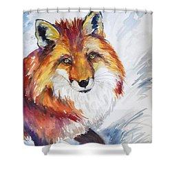 The Snow Fox Shower Curtain by P Maure Bausch