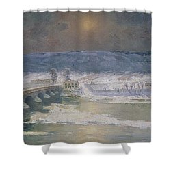 The Snow In The Auvergne Shower Curtain by Albert Charles Lebourg