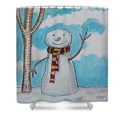 The Snowman Smile Shower Curtain by Elizabeth Robinette Tyndall