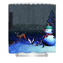 The Snowman's Visitors Shower Curtain by Ken Morris