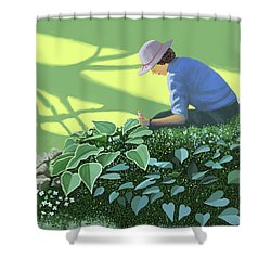 Shower Curtain featuring the painting The Solace Of The Shade Garden by Gary Giacomelli