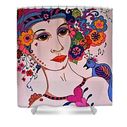 Shower Curtain featuring the painting The Songbird by Alison Caltrider