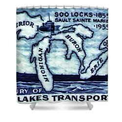 The Soo Locks Stamp Shower Curtain