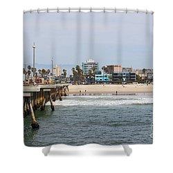 The South View Venice Beach Pier Shower Curtain by Ana V Ramirez