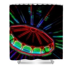 The Spaceship Shower Curtain by Bob Pardue