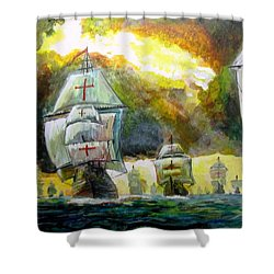 The Spanish Armada Shower Curtain