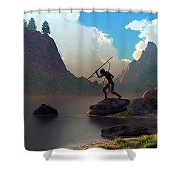 Shower Curtain featuring the digital art The Spear Fisher by Daniel Eskridge