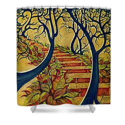 Shower Curtain featuring the painting The Stairs To Now by Anna Ewa Miarczynska