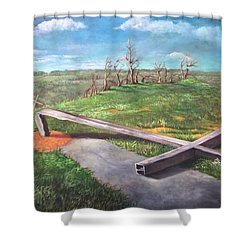 Shower Curtain featuring the painting Millsfield Tennessee Steel Cross by Randol Burns