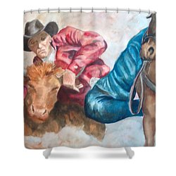 The Steer Wrestler Shower Curtain