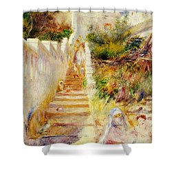 The Steps In Algiers Shower Curtain by Pierre Auguste Renoir