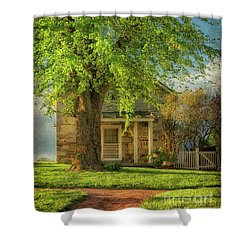 Shower Curtain featuring the photograph The Stone Cottage On A Spring Evening by Lois Bryan