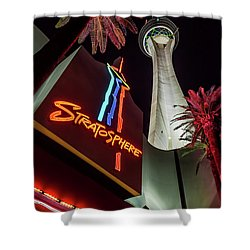 Shower Curtain featuring the photograph The Stratosphere Tower Entrance by Aloha Art