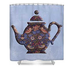 The Strawberry Thief Pattern Teapot Shower Curtain