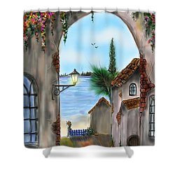 Shower Curtain featuring the digital art The Street by Darren Cannell