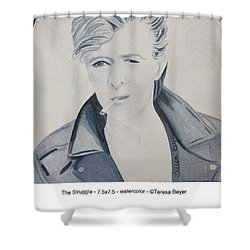 Shower Curtain featuring the painting The Struggle by Teresa Beyer