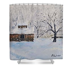 The Sugar House Shower Curtain by Stanton Allaben