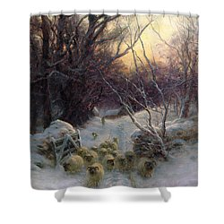 The Sun Had Closed The Winter Day Shower Curtain by Joseph Farquharson