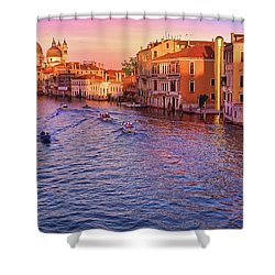 The Sun Is Setting In Venice Shower Curtain
