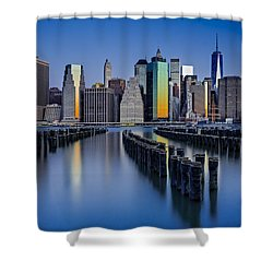 The Sun Rises At The New York City Skyline Shower Curtain